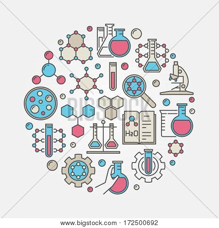 Chemistry colorful illustration. Vector circular science concept sign or laboratory symbol made with chemical icons
