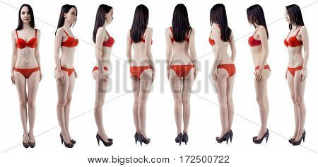 Turning around slim woman in red lingerie on white background