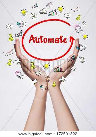 Technology, Internet, Business And Marketing. Young Business Woman Writing Word: Automate