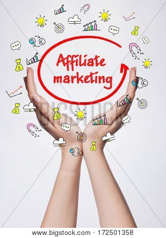 Technology, Internet, Business And Marketing. Young Business Woman Writing Word: Affiliate Marketing