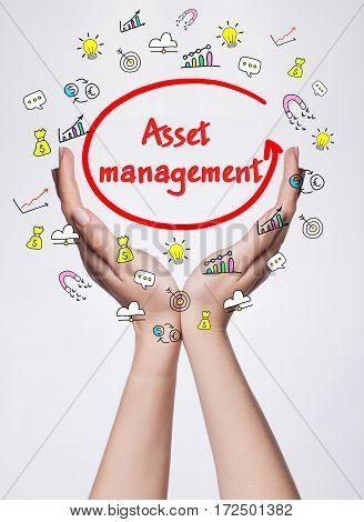 Technology, Internet, Business And Marketing. Young Business Woman Writing Word: Asset Management