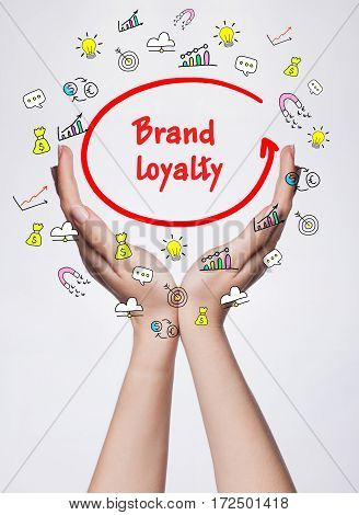 Technology, Internet, Business And Marketing. Young Business Woman Writing Word: Brand Loyalty