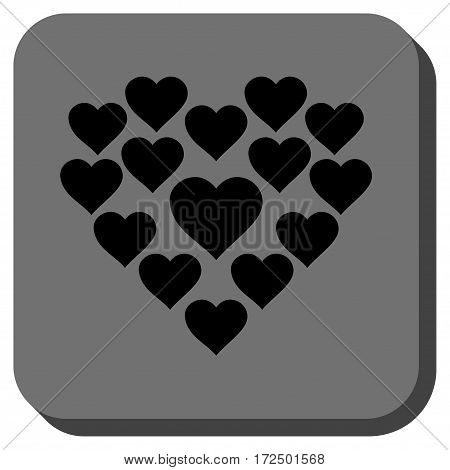 Love Hearts Shape interface button. Vector pictogram style is a flat symbol inside a rounded square button black and gray colors.