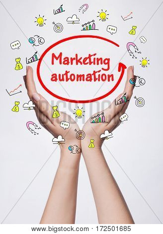 Technology, Internet, Business And Marketing. Young Business Woman Writing Word: Marketing Automatio