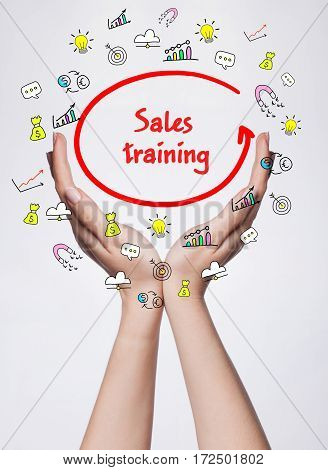 Technology, Internet, Business And Marketing. Young Business Woman Writing Word: Sales Training