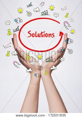 Technology, Internet, Business And Marketing. Young Business Woman Writing Word:  Solutions