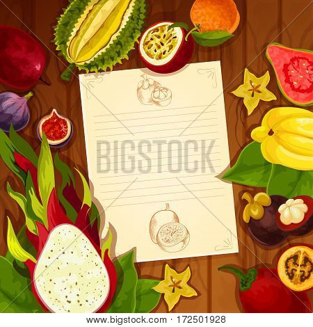 Recipe blank page of exotic and tropical fruits. Vector note design in carambola or starfruit, guava and dragon fruit, mangosteen and figs, passion fruit, orange or pomelo tangerine, druian and feijoa