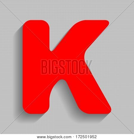 Letter K sign design template element. Vector. Red icon with soft shadow on gray background.