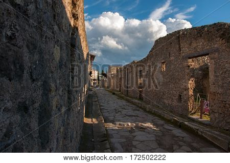 The summer streets of Pompeii. Italy, Europe.