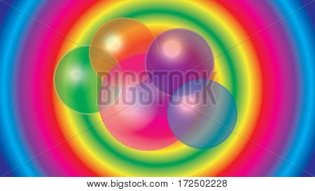 Abstract colored translucent bubbles on a colorful background.
