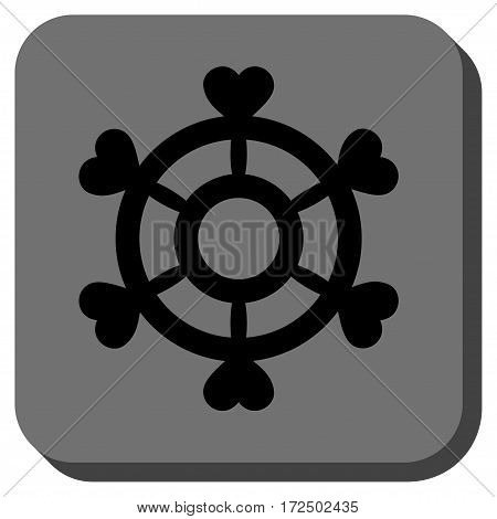 Lovely Boat Steering Wheel toolbar icon. Vector pictogram style is a flat symbol in a rounded square button black and gray colors.