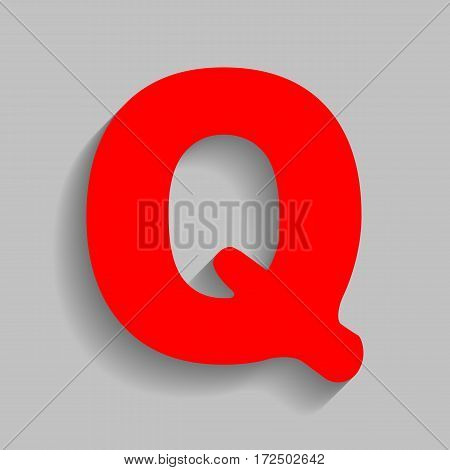 Letter Q sign design template element. Vector. Red icon with soft shadow on gray background.