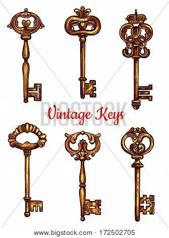 Vintage keys of brass vector sketch icons. Set of metal bronze lock key symbols with antique or medieval ornate bow and wards. Lever-type heraldic keys for coat of arms or heraldry shield