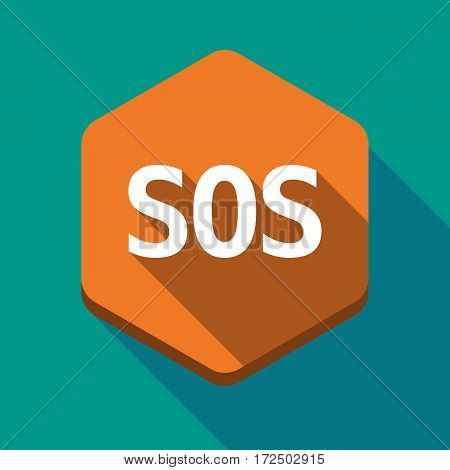 Long Shadow Hexagon With    The Text Sos