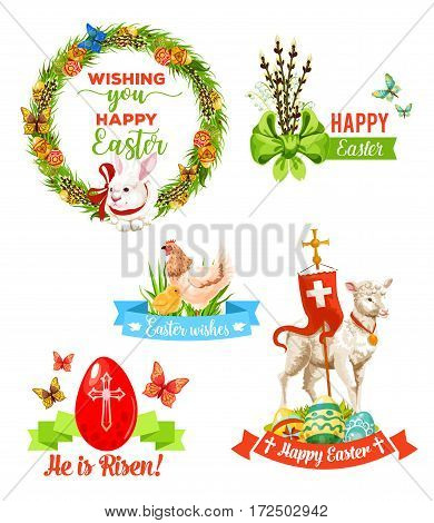 Easter holiday wishes emblem set. Easter egg with cross, rabbit bunny framed by floral wreath, chicken with chick, spring flowers with bow, lamb of God cartoon symbols with best wishes ribbon banner