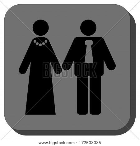 Newlyweds toolbar button. Vector pictogram style is a flat symbol inside a rounded square button black and gray colors.