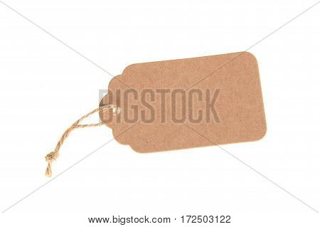 Empty carton gift note isolated on white background