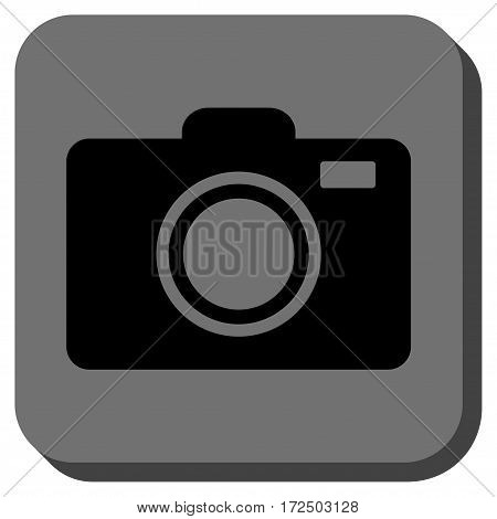 Photo Camera toolbar button. Vector pictogram style is a flat symbol inside a rounded square button black and gray colors.