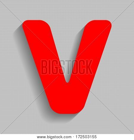 Letter V sign design template element. Vector. Red icon with soft shadow on gray background.