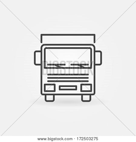 Truck outline icon - vector delivery van concept symbol or logo element. Front view