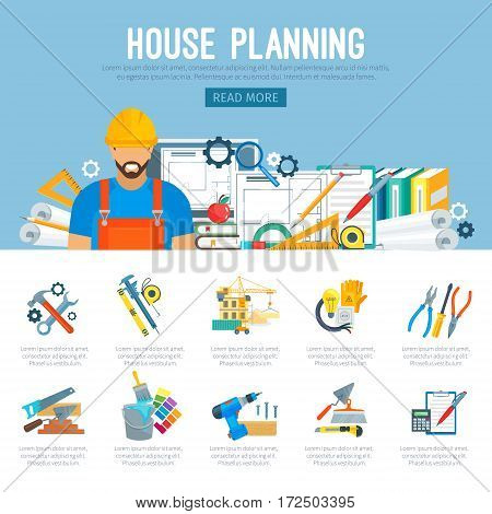 Building or house construction and repair planning infographics of vector work tools of carpenter worker measure ruler, helmet and drill, hammer and saw, wrench and screwdriver, trowel and paint brush