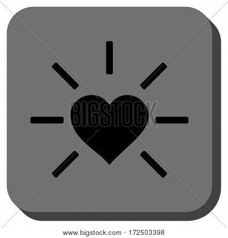 Shiny Love Heart interface toolbar icon. Vector pictograph style is a flat symbol on a rounded square button black and gray colors.