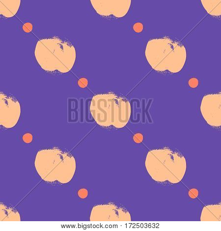 Vector seamless pattern with circles brush strokes. Colorful doodle. Polka dot background. Abstract hand drawn illustration.