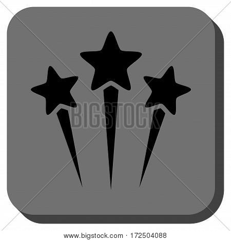 Star Salute interface toolbar icon. Vector pictograph style is a flat symbol in a rounded square button black and gray colors.