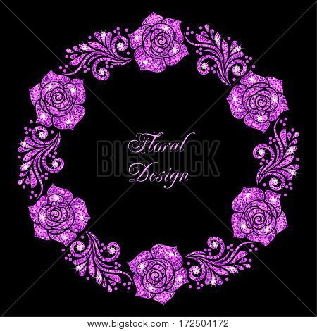 Stylized floral ornament made of purple shiny confetti. Vector illustration