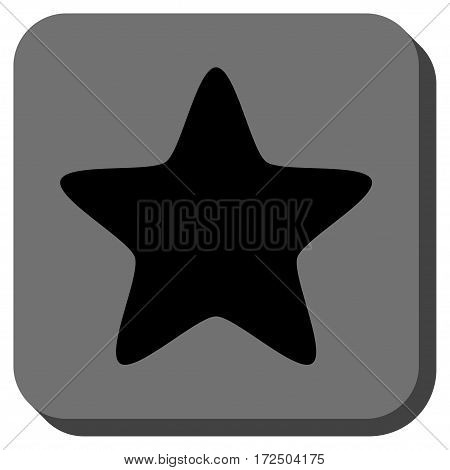 Star interface toolbar icon. Vector pictogram style is a flat symbol on a rounded square button black and gray colors.