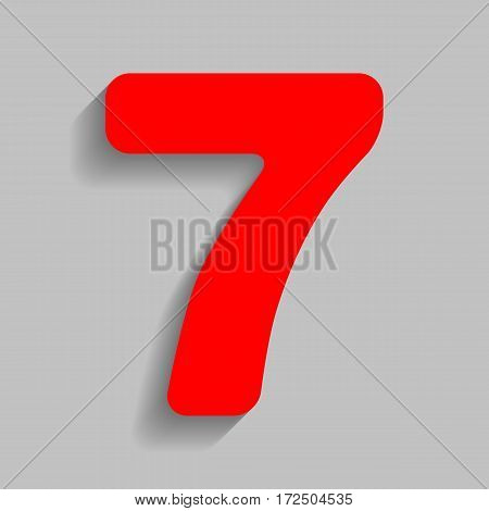 Number 7 sign design template element. Vector. Red icon with soft shadow on gray background.