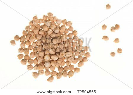 Pile of chick peas seen from above isolated on a white background
