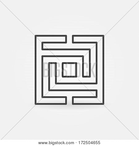 Square maze or labyrinth icon - vector business concept symbol