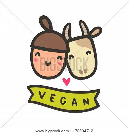 Happy girl and cow. Vegan hand drawn vector cartoon illustration