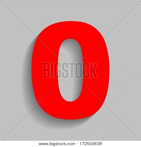 Number 0 sign design template element. Vector. Red icon with soft shadow on gray background.