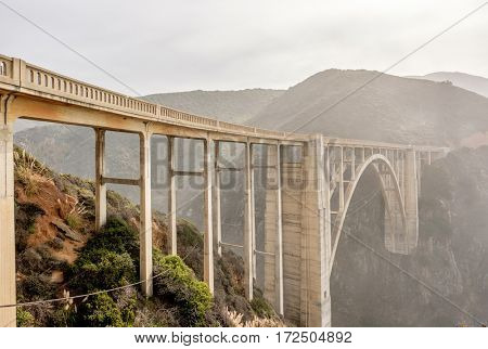 Bixby Creek Bridge on Highway 1. Big Sur Area, California, USA.