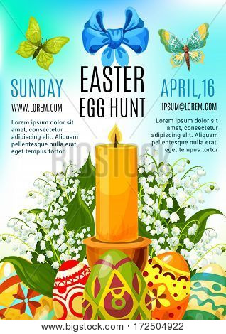 Easter egg hunt celebration poster or invitation flyer template design. Decorated Easter eggs with lily of the valley flowers and candle, supplemented with text layouts, ribbon bow and butterflies