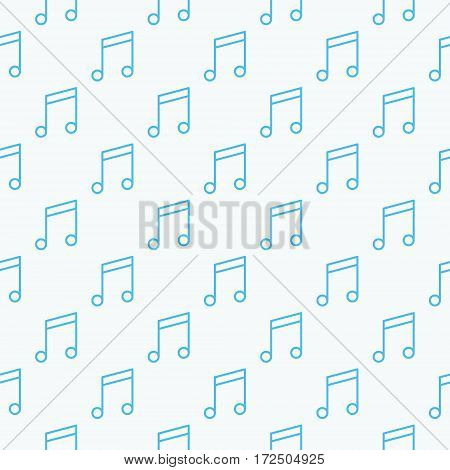 Music notes seamless pattern. Vector texture made with blue notes on white background
