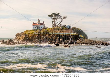 Battery Point Lighthouse at Pacific coast, built in 1856, California, USA
