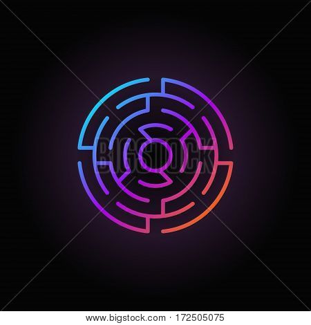 Round labyrinth colorful icon - vector abstract linear circle maze sign or logo element on dark background