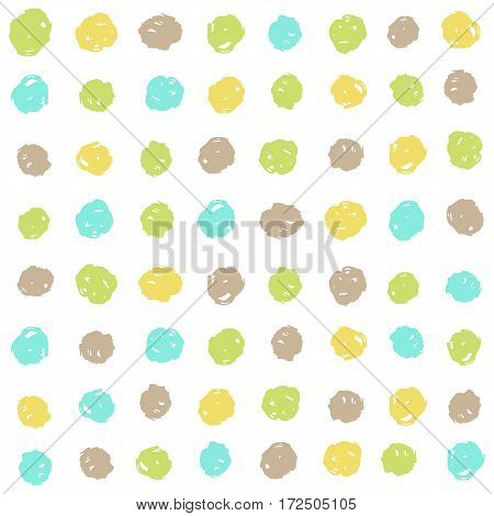 Cute dots background. Vector hand drawn seamless pattern