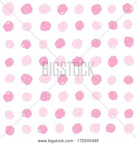 Pink paint dots background. Vector hand drawn seamless pattern