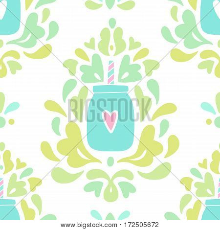 Beautiful smoothie ornaments background. Vector hand drawn seamless pattern