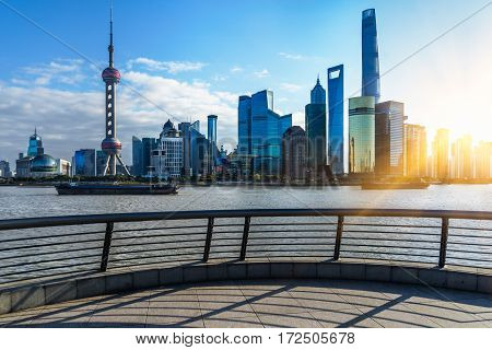 Shanghai skylinelandmarks of Shanghai with Huangpu river in China.