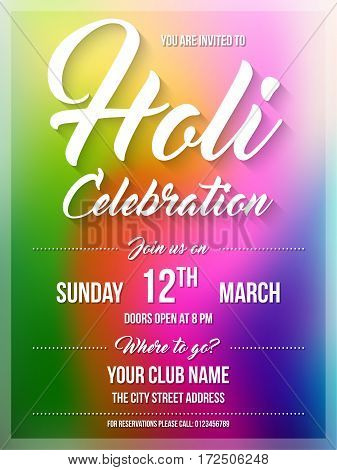 Happy Holi spring festival of colors. Poster flyer or invitation template. Vector Illustration