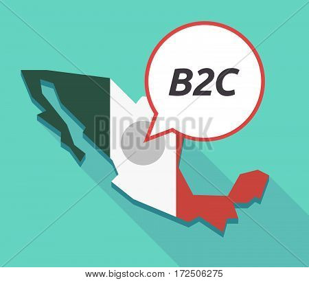 Vector Of Mexico Map With    The Text B2C