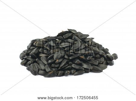 Pile of sunflowers seeds isolated over the white background