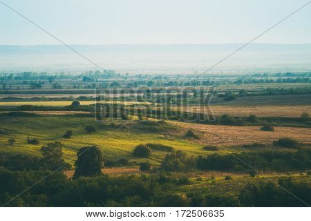 Beautiful Landscape fields in Serbia.  Nature landscape.