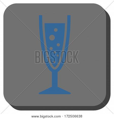 Champagne Glass rounded button. Vector pictogram style is a flat symbol inside a rounded square button cobalt blue and gray colors.