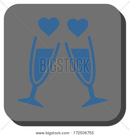 Clink Glasses square icon. Vector pictogram style is a flat symbol inside a rounded square button cobalt blue and gray colors.